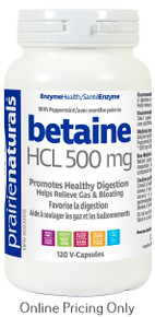PRAIRIE NATURALS BETAINE HCL 500mg 120vcaps