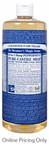 DR BRONNERS PEPPERMINT CASTILE SOAP 946ml