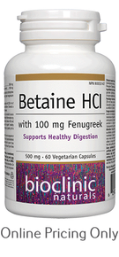 BIOCLINIC NATURALS BETAINE HCI 500mg 60vcaps
