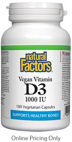NATURAL FACTORS VEGAN VITAMIN D3 1000IU 180vcaps