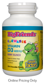 NATURAL FACTORS BIG FRIENDS CHEWABLE VITAMIN D3 400IU 250chews