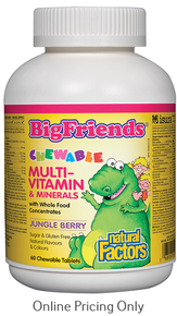 NATURAL FACTORS BIG FRIENDS CHEWABLE MULTIVITAMIN & MINTERALS JUNGLE 60chews