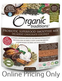 ORGANIC TRADITIONS PROBIOTIC SMOOTHIE MIX DECADENT CHOCOLATE COCONUT 200g