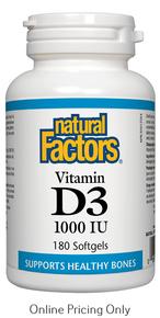NATURAL FACTORS VITAMIN D3 1000IU 180sg