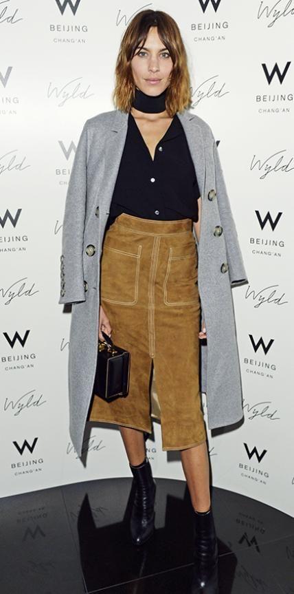 Alexa Chung 70s look suede skirt