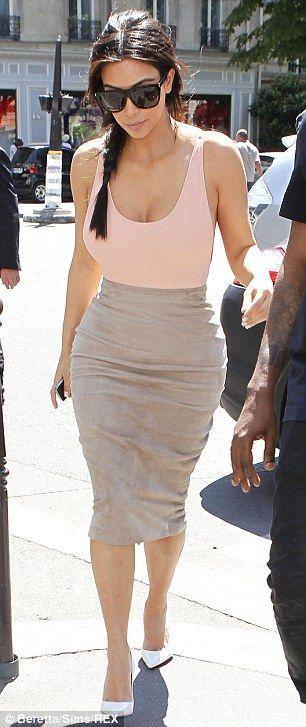 Kim Kardashian Camel Suede Skirt