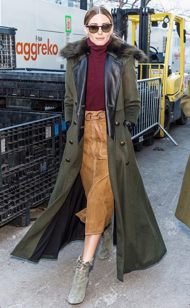 Olivia Palermo wearing camel skirt 70s