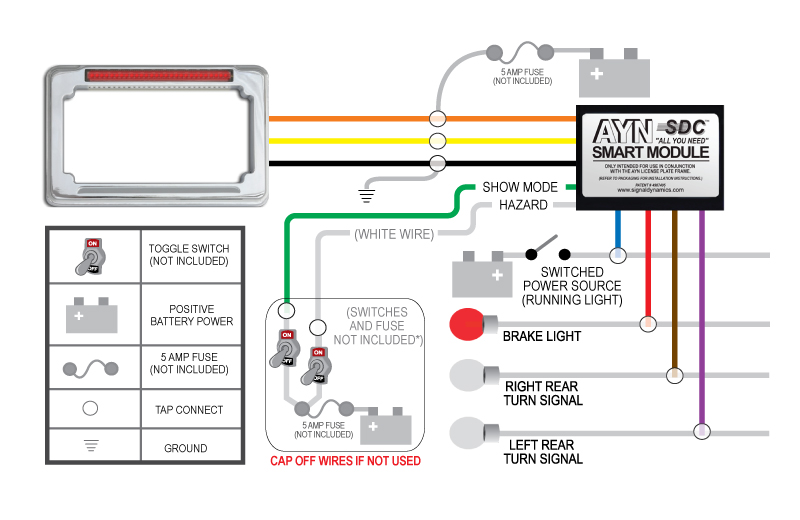 02722 wiring diagram ayn?t=1398725710 chrome ayn motorcycle license plate frame & smart module combo illuminator wiring harness instructions at bakdesigns.co