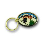 Aspen Skier Ski Resort Keychain Front