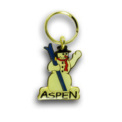 Aspen Snow Man Ski Resort Keychain Front