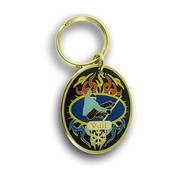 Vail Snowboard Flames Keychain Front
