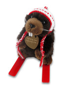 Beaver Skier Heart Plush Toy
