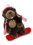 Beaver Snowboarder Plush Toy Circle Tag