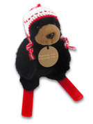 Black Bear Skier Plush Toy Circle Tag