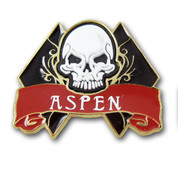 Aspen Skull and Diamond Ski Resort Pin