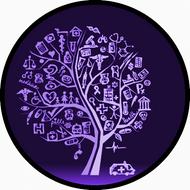 Med Sketch Tree Purple BR