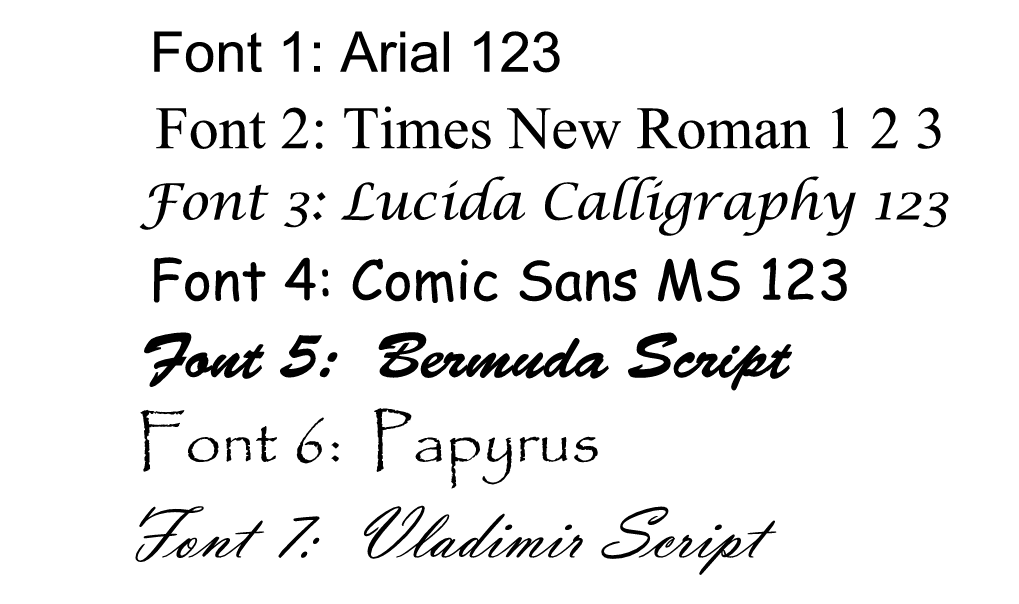 fonts available for laser engraved items