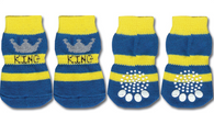 King Print Non-Skid Dog Socks
