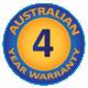 4 Year Australian Warranty