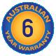 6 Year Australian Warranty
