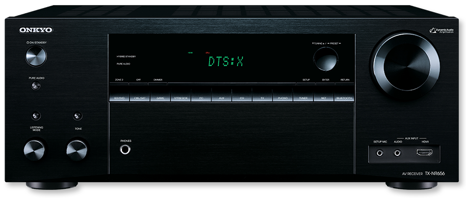 Onkyo TX-NR656 7.2-Channel DTS-X & Dolby Atmos Ready Network AV Receiver - front view