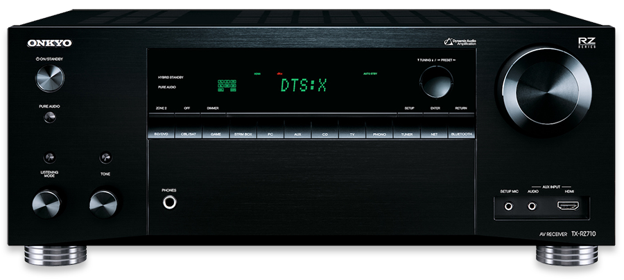 Onkyo TX-RZ710 7.2-Channel THX, DTS-X & Dolby Atmos Ready Network AV Receiver - front
