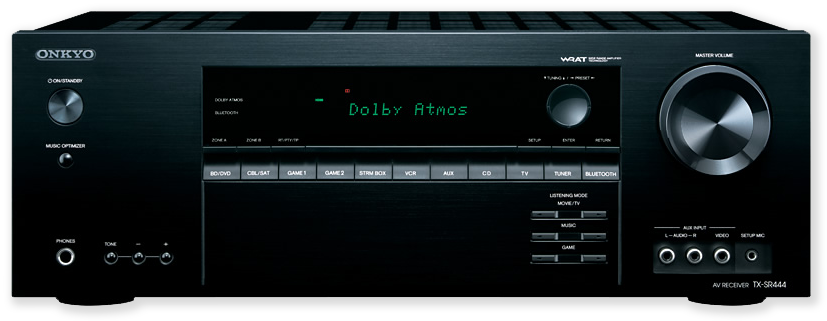 Onkyo TX-SR444 7.1 Channel Dolby Atmos 4K-Ready Network AV Receiver - Front view