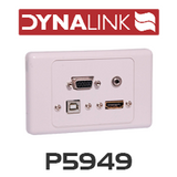 Dynalink P5949 HDMI, VGA, 3.5mm, USB type B Wallplate Dual Cover Flyleads