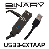 Binary USB 3.0 A-A (Male-Female) Extender Cable with Power Supply Included - 15, 20, 30m
