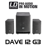 """LD Systems DAVE12G3 12"""" 1080W 2.1 Compact Active PA System w/ DSP"""