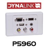 Dynalink HDMI, VGA, 3.5mm, USB-A, RCA Wallplate Dual Cover Flylead