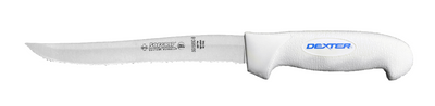 """SG158SCB Dexter Russell 8"""" Scalloped Utility Slicer with SofGrip Handle"""