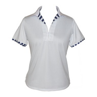 White Golf Shirt with Stripe Detail