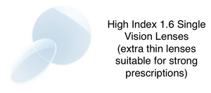 High-index 1.6 Single Vision inc MAR (extra thin for strong prescriptions)
