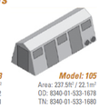 Shelter, Base-X, 105, 9.5'x25' - NSN 8340-01-533-1678, 8340-01-533-1680