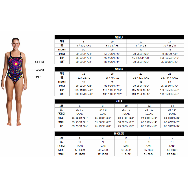 swimsuit size chart: Size guides rival adrenalin arena blueseventy turbo