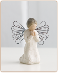 This praying angel will accompany you through good times and bad. She kneels 4 inches tall.