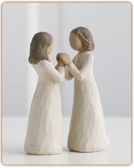 "Celebrating a treasured friendship of sharing and understanding  ""I'm very close to my sisters, and the friendship and support of other women has always enriched my life. I also realize that there are friends or other relatives that may not be blood sisters, but share this same type of closeness."" - Susan Lordi creator of Sisters by Heart. Wooden figure stands 4.5 inches tall."