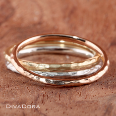 Hammered Stack Ring in Your Choice of 14K Solid Gold 1.5mm