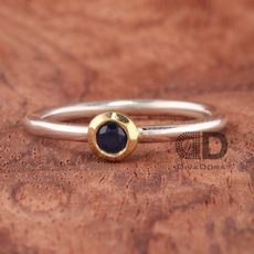 Polish Stack Silver Ring and Sapphire Set in 18K Solid Gold
