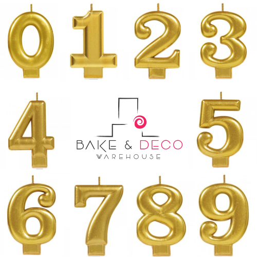 Large Gold Number Candles