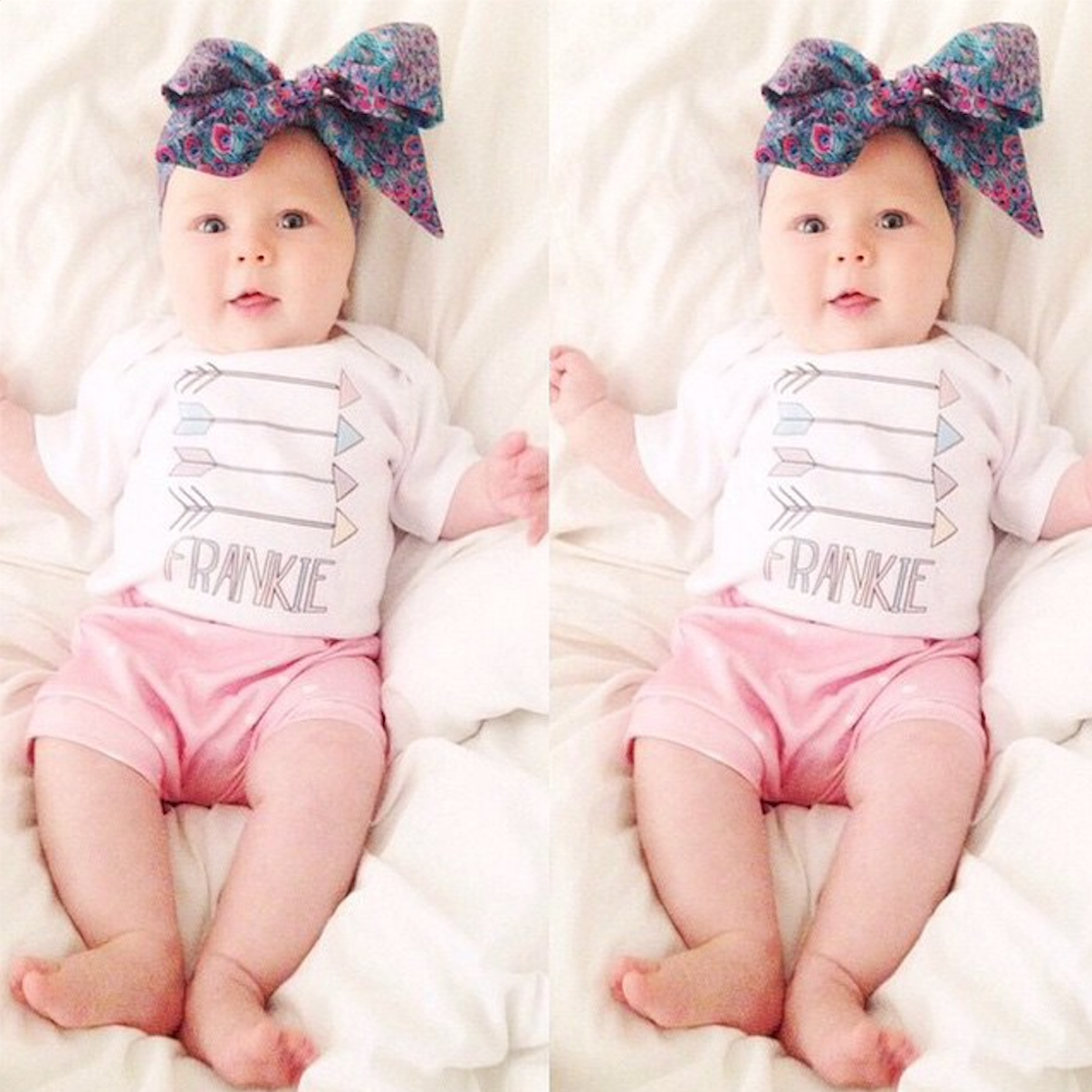 Frankie (from @frankiezara on Instagram) in our Pastel Arrows Baby Onesie