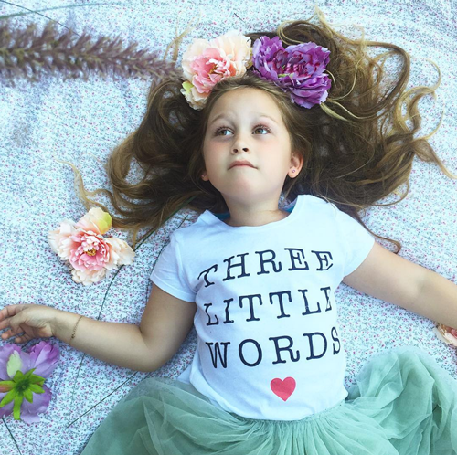 Beautiful Belle in her Three Little Words tee - @sheloveslaughslives