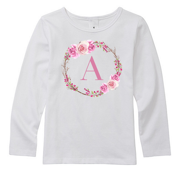 Personalised Initial Girl Top with Floral Wreath
