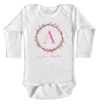 Flower Bud Wreath Personalised Name and Initial Long Onesie