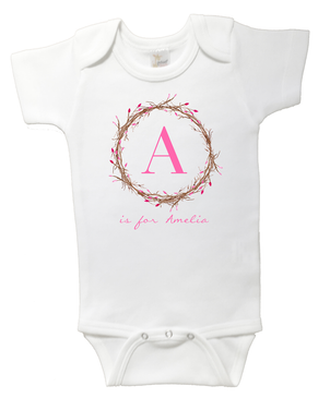 Flower Bud Wreath Personalised Name and Initial Onesie