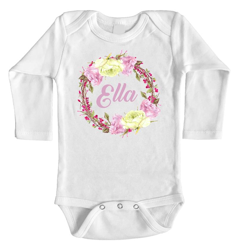 Personalised Name Onesie Rose Wreath Design Custom Printed Baby