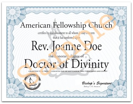 Example of Online Doctor of Divinity Degree available from the American Fellowship Church