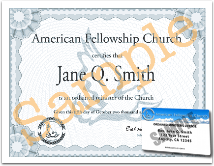 Ordination Certificate and ID Card