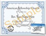 Minister License ID Card and Ordination Certificate